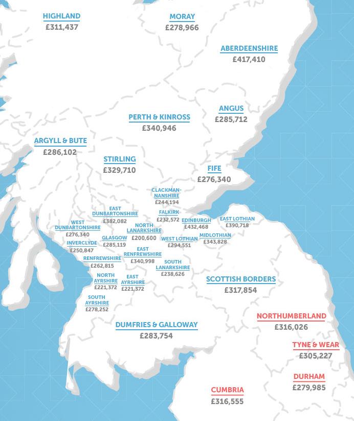 Карта прогнозів ціна на житло у 2030 році, у північних територіях Британії
